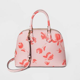 Floral Print Dome Satchel Handbag - A New Day™ Coral