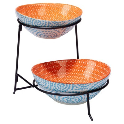 Certified International® Chelsea Mix & Match Porcelain and Metal 2-Tier Stand with Oval Bowls Aqua