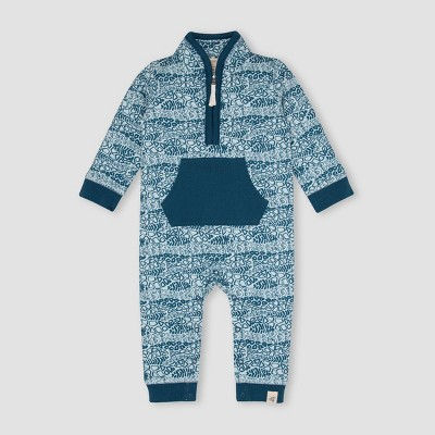 Burt's Bees Baby® Baby Boys' French Terry Reptile Ripple Zip-Up Jumpsuit - Dark Teal