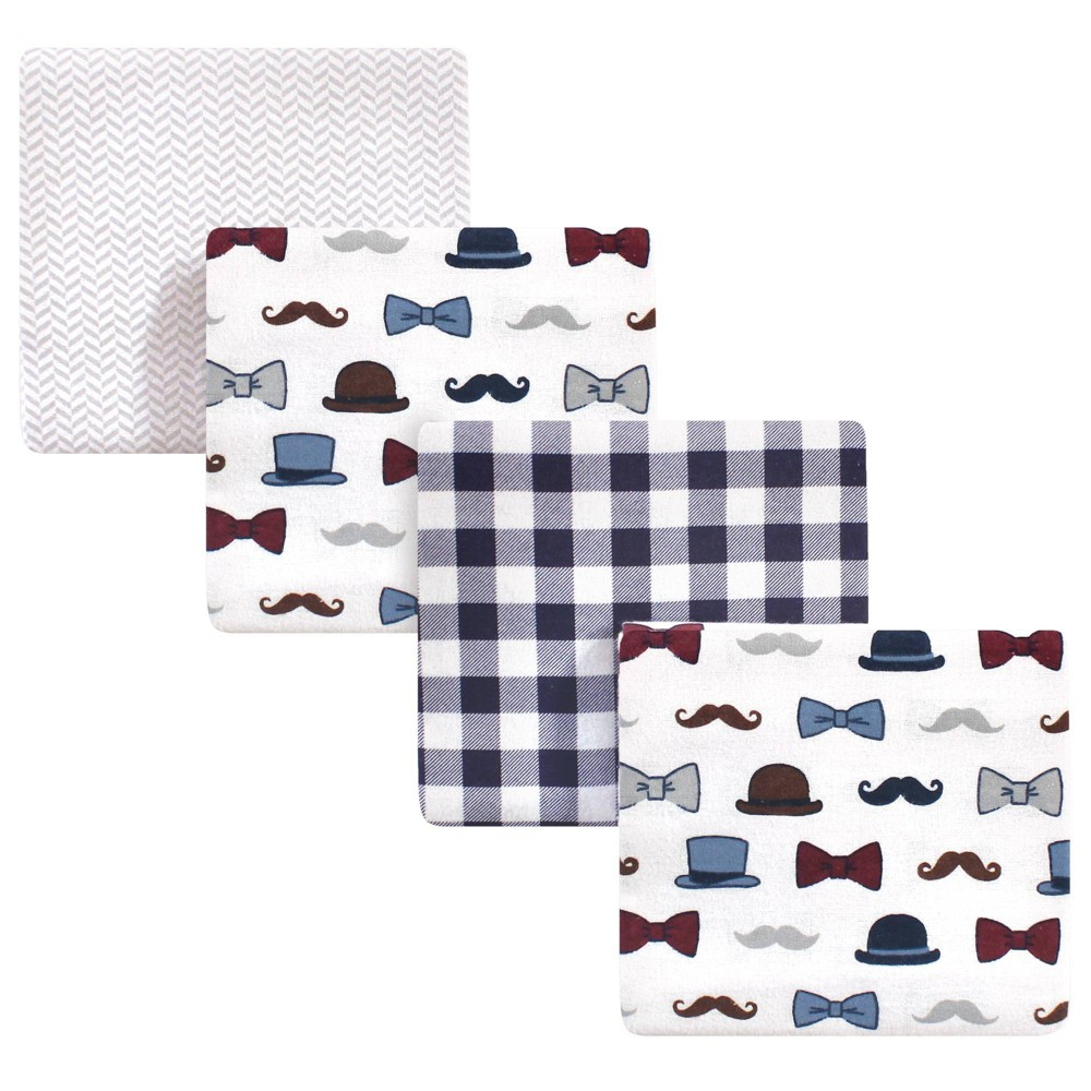 Baby Vision Little Treasure Unisex Baby Cotton Flannel Receiving Blanket Handsome Fella One Size 4pk