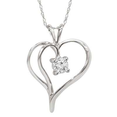 "Pompeii3 1/3Ct Solitaire Round Diamond Heart Pendant & Chain 14K White Gold 1"" Tall"