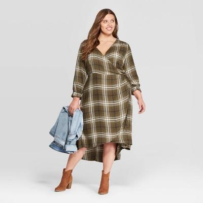 Women's Plus Size Plaid Long Sleeve V Neck Midi Wrap Dress   Universal Thread™ Green by Universal Thread