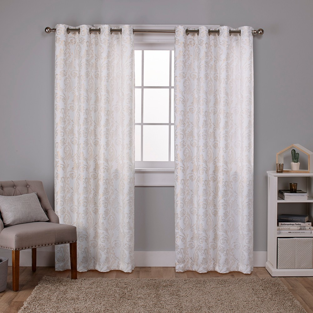 Watford Distressed Metallic Print Thermal Grommet Top Window Curtain Panel Pair Winter White Gold Print 52x96 - Exclusive Home, White/Gold