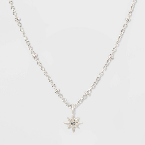 Starburst Charm Short Necklace - Silver - image 1 of 3