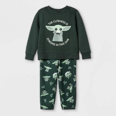 Toddler Boys' 2pc Star Wars Baby Yoda Fleece Crew Neck Long Sleeve Top and Bottom Set - Olive Green 12M