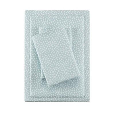 Queen Cozy Flannel Sheet Set Aqua Dots