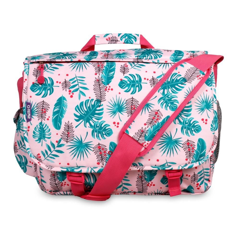 J World Thomas Laptop Messenger Bag - Palm Leaves, Pink