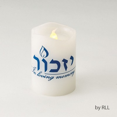 """Rite Lite 2.75"""" Flickering Yizkor LED Flameless Memorial Candle - Clear/Blue"""