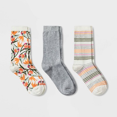 Women's Birds of Paradise 3pk Crew Socks - A New Day™ Cream/Heather Gray 4-10