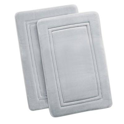 "2pc 20""x32"" HeiQ Antimicrobial Memory Foam Bath Rug Set Light Gray - Truly Calm"