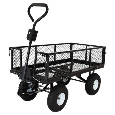 Sunnydaze Outdoor Lawn and Garden Heavy-Duty Durable Steel Mesh Utility Dump Wagon Cart with Removable Sides - Black