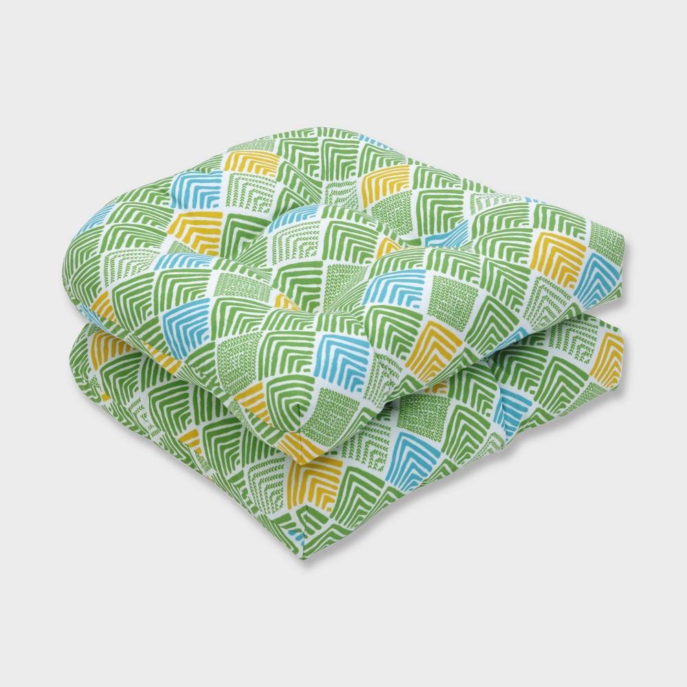 2pk Belk Seaglass Wicker Outdoor Seat Cushions Green - Pillow Perfect