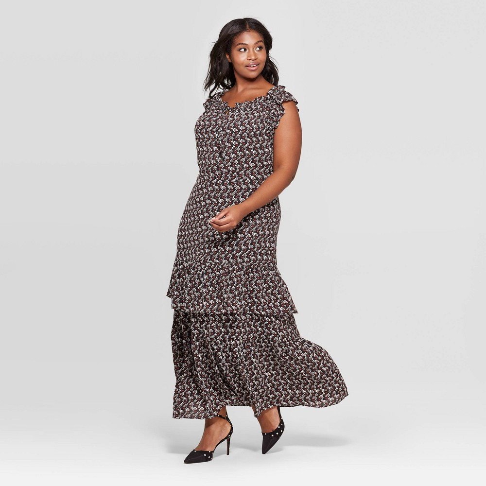 Women's Plus Size Floral Print Cap Sleeve Boat Neck Ruffle Tiered Maxi Dress - Who What Wear Black 1X
