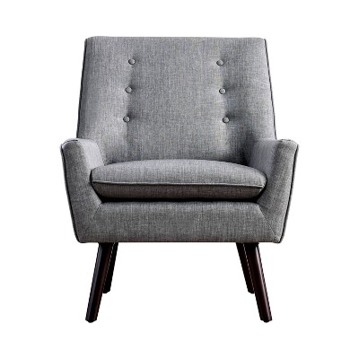 Center Button Tufted Accent Chair Gray - HOMES: Inside + Out