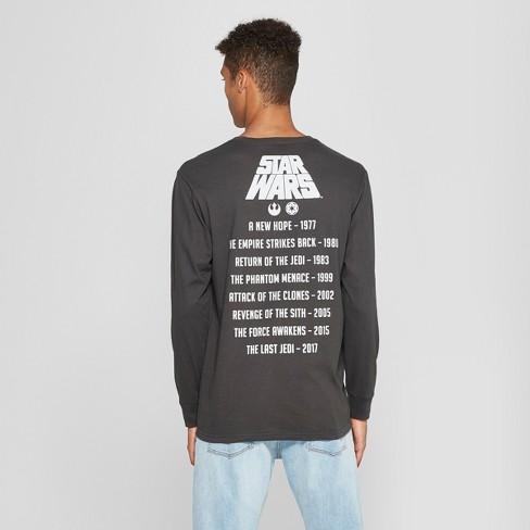 50e53189caf Men s Star Wars Long Sleeve T-Shirt - Vintage Black   Target