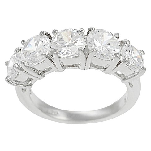 3/4 CT. T.W. Tressa Round Cut Cubic Zirconia Prong Set Bridal Style Ring in Sterling Silver - Silver - image 1 of 4