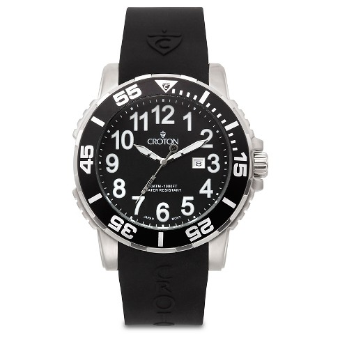 Croton Men's Stainless Steel Wristwatch - Black - image 1 of 3