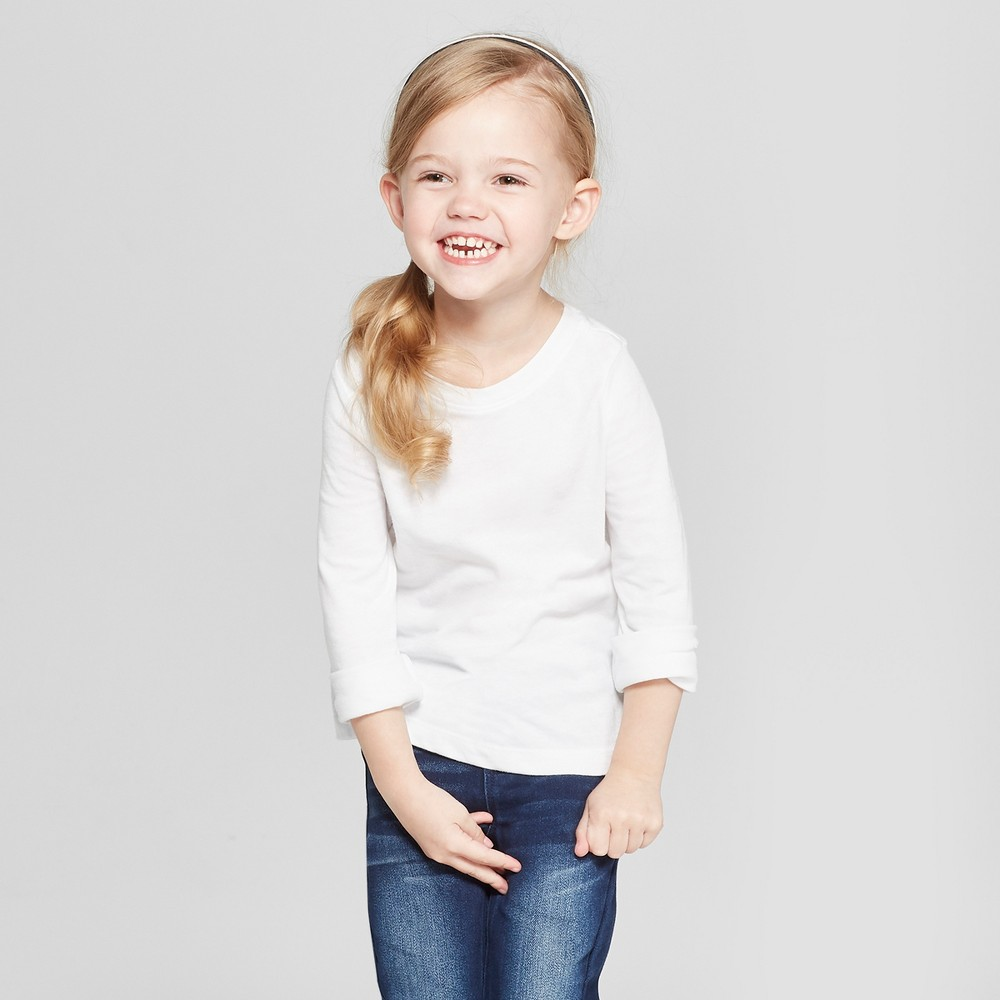 Toddler Girls' Long Sleeve T-Shirt - Cat & Jack White 5T