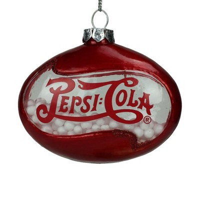 Northlight 3 Pepsi Cola Disc Shaped Snow Filled Glass Christmas Ornament Red Target