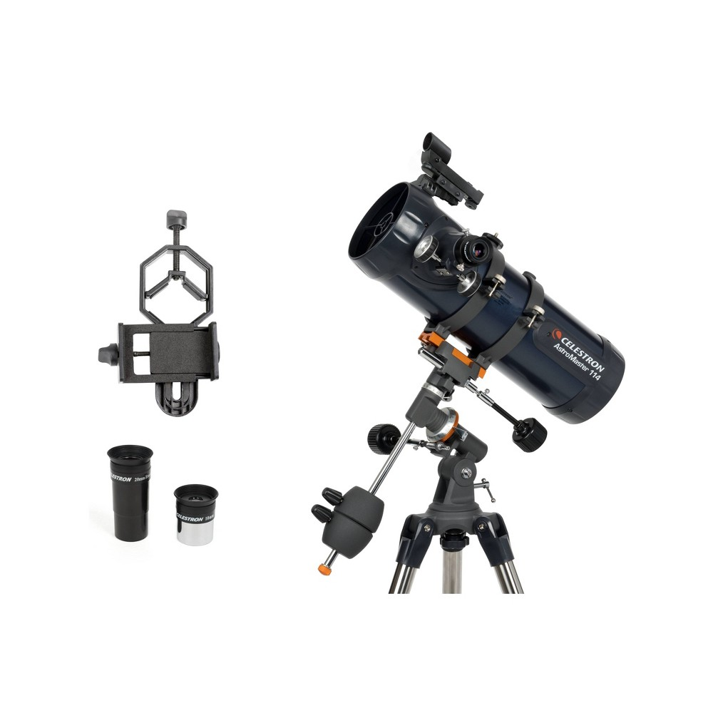 Image of Celestron AstroMaster 114EQ Telescope with Basic Smartphone Adapter - Black, Silver Blue Black
