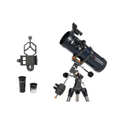 Celestron AstroMaster 114EQ Telescope with Basic Smartphone Adapter - Black
