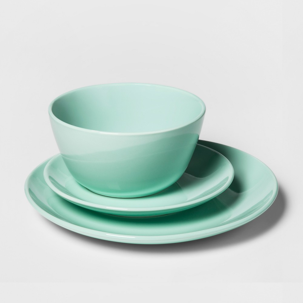 Image of 12pc Avesta Stoneware Dinnerware Set Green - Project 62 , Blue