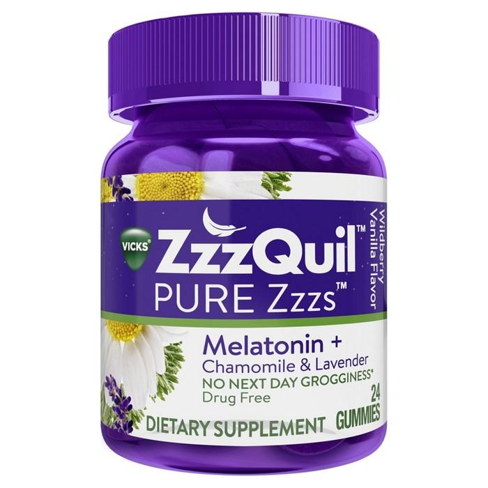 Vicks PURE Zzzs Melatonin Sleep Aid Gummies - Wildberry Vanilla - image 1 of 6