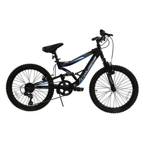 Dual Suspension Mountain Bike >> Columbia Teton 20 Kid S Dual Suspension Mountain Bike Blue Black