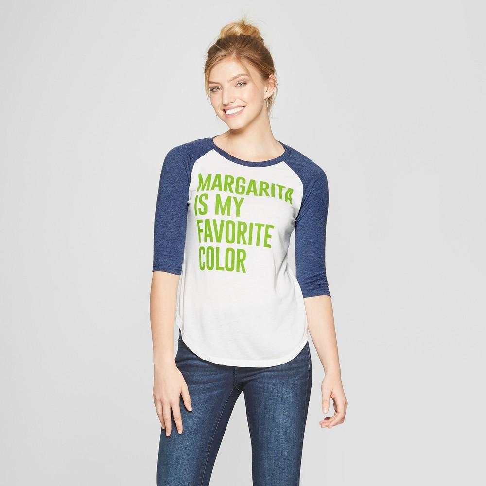 Women's 3/4 Sleeve Margarita Raglan Graphic T-Shirt - Awake White/Heather Navy Blue XS