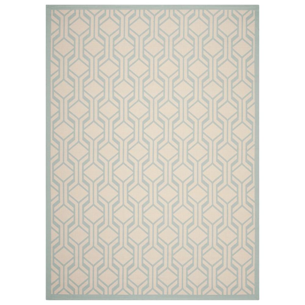 Serena Rectangle 8' X 11' Outer Patio Rug - Beige / Aqua - Safavieh, Blue