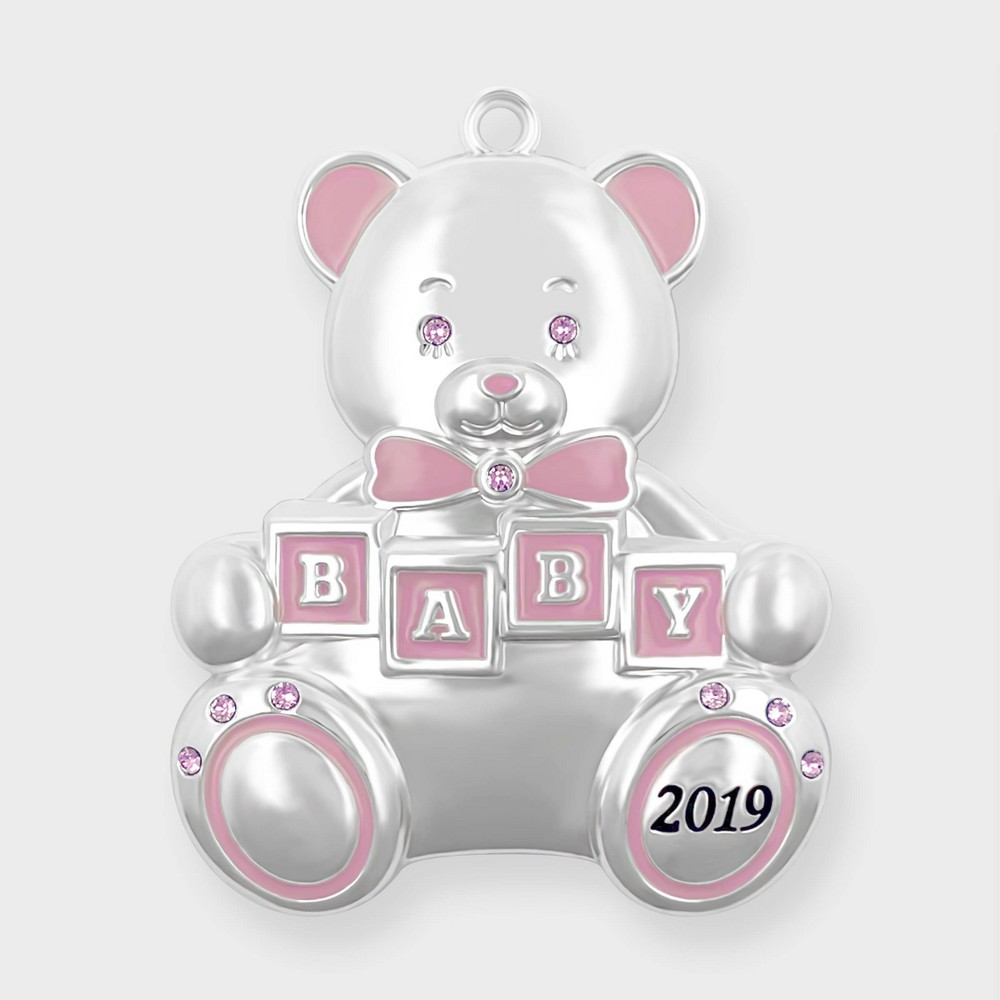 Image of Crystals from Swarovski - Harvey Lewis - Baby's First Christmas 2019 Ornament Pink, Pink Silver