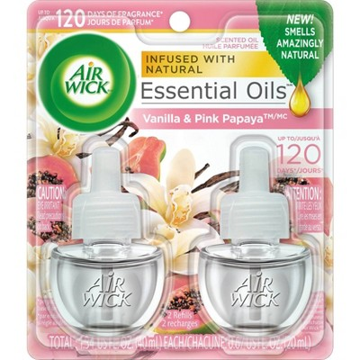 Air Wick Scented Oil - Twin Refill Essential Oils Vanilla & Pink Papaya 2.67oz