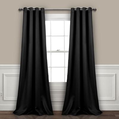 Insulated Grommet Blackout Curtain Panels Black Pair Set 95 x52 - Lush Decor