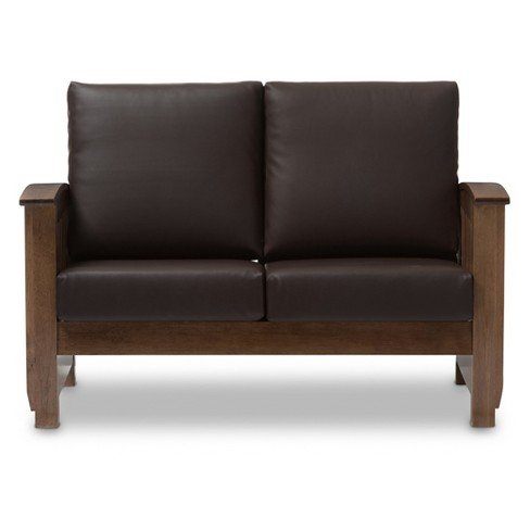 Charlotte Modern Clic Mission Style Faux Leather 2 Seater Loveseat Dark Brown Walnut Baxton Studio