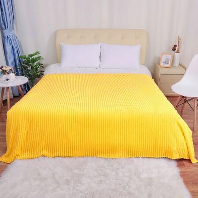 1 Pc Full Microfiber Polar Fleece Bed Blankets Yellow  - PiccoCasa