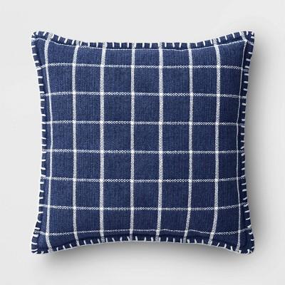 Square Plaid Chenille Pillow Blue - Threshold™
