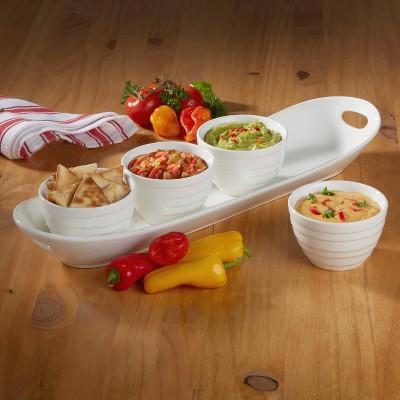 5pc Porcelain Tidbit Serving Tray Set White - Certified International