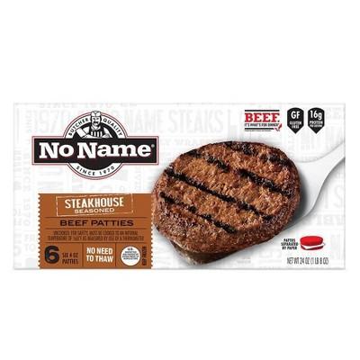 No Name Steakhouse Burgers - Frozen - 24oz/6ct