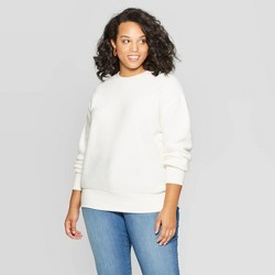 Women's Plus Size Long Sleeve Crewneck Textured Pullover - Ava & Viv™