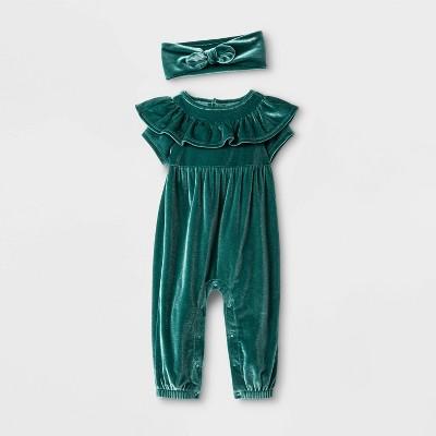 Baby Girls' 2pc Short Sleeve Elevated Romper & Headband - Cat & Jack™ Green Newborn