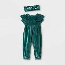 Baby Girls' 2pc Short Sleeve Elevated Romper & Headband - Cat & Jack™ Green