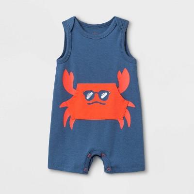 Baby Boys' Crab Romper - Cat & Jack™ Blue 6-9M