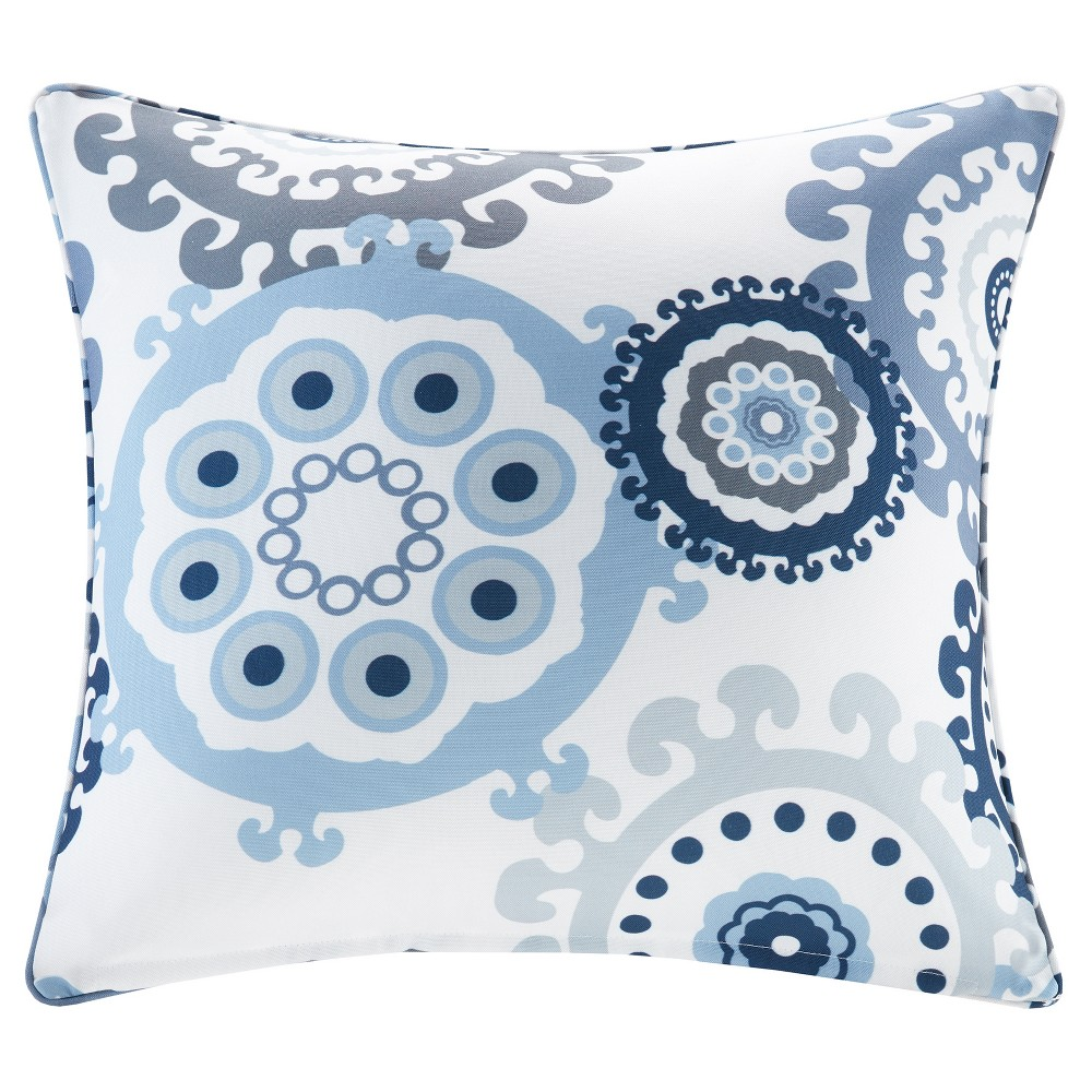 Image of Marina Printed Medallion 3M Scotchgard Outdoor Square Pillow - Navy (Blue)