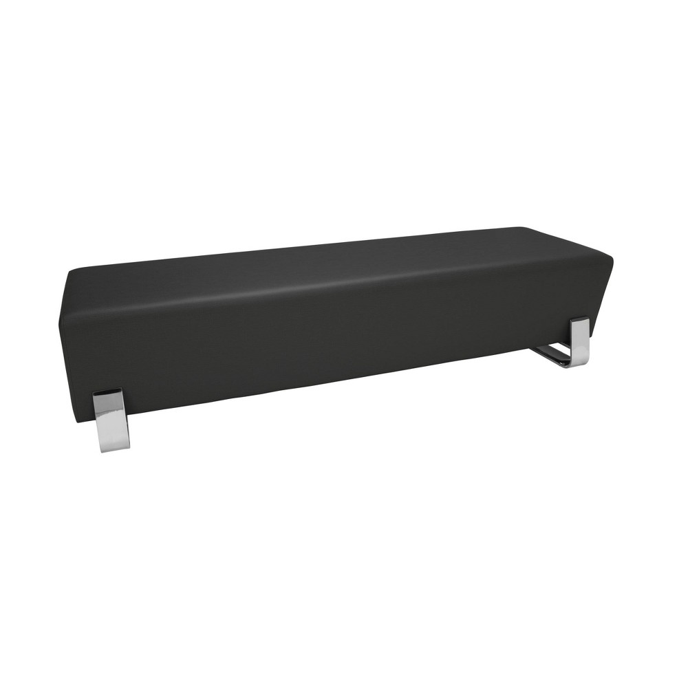 Axis Series Contemporary Triple Seating Bench Textured Vinyl Midnight (Black) - Ofm
