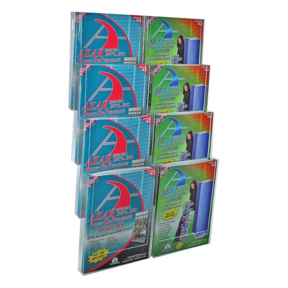 Azar Eight-Pocket Letter Wall Mount Brochure Holder, Clear
