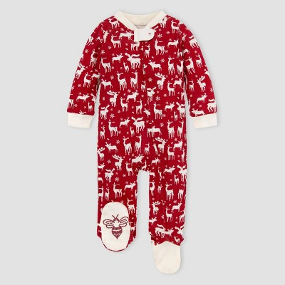 Burt's Bees Baby® Baby Boys' Organic Cotton 'Stags in the Snow' Sleep N' Play - Pink 6-9M
