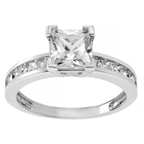 1 2/5 CT. T.W. Emerald-cut Cubic Zirconia Engagement Basket Set Ring in Sterling Silver - Silver - image 1 of 2