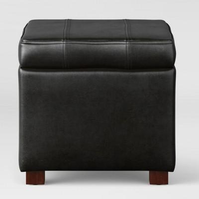 Bon Single Storage Faux Leather Ottoman   Threshold™