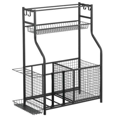mDesign Metal Heavy Duty Sports Storage Rack with Top Shelf
