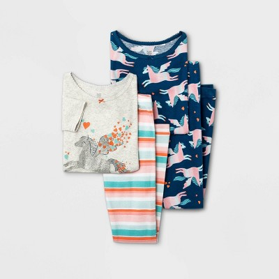 Girls' 4pc Striped Unicorn Pajama Set - Just One You® made by carter's Gray